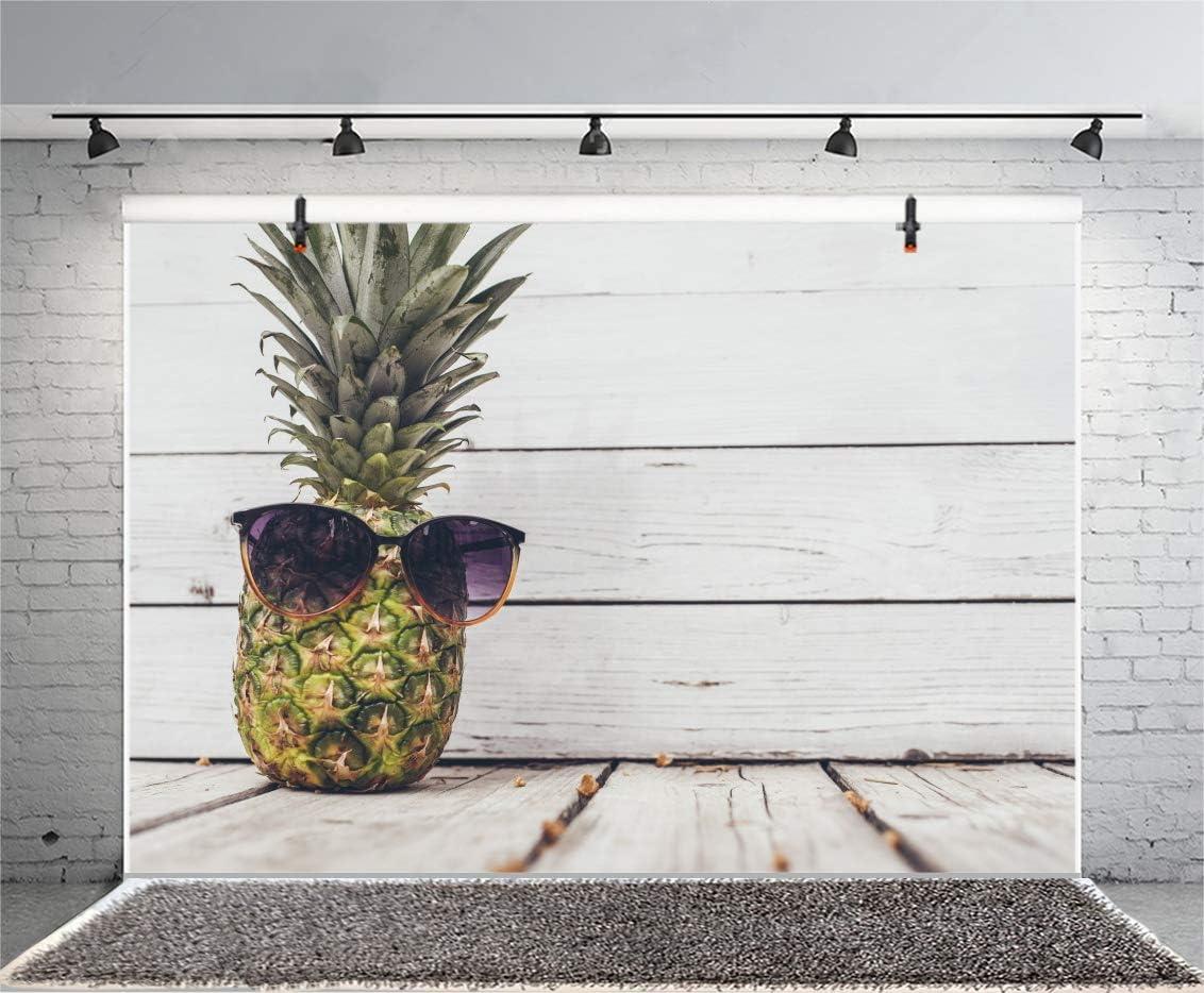 Laeacco 7x5ft Summer Party Backdrop Vinyl Wood Board Photography Background Pineapple Sunglasses Children Kids Portrait Children Holiday Photo Vedio Studio Props