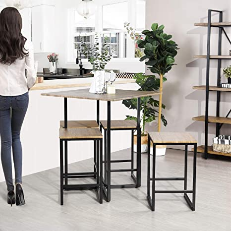 Framodo 5 Piece Kitchen Counter Height Pub Dining Table Set Square High Breakfast Table With 4 Bar Stools
