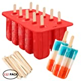 silicone popsicle molds,10-Cavity Slicone Frozen Ice Pop Maker with100Wooden Sticks for Toddlers, Kids and Adults - BPA…