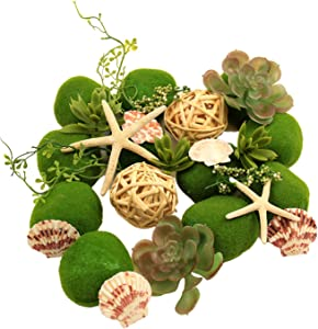 ANDALUCA Coastal Moss Vase & Bowl Filler Home Decor | Moss Stones, Seashells, Succulents, Starfish & Rattan Balls…