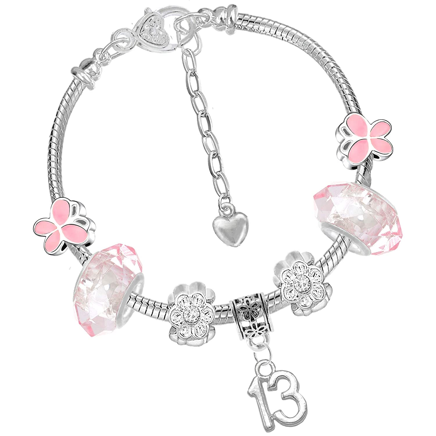 Girls Pink Butterfly Birthday Charm Bracelet and Gift Box Set Age 4 5 6 7 8 9 10 Charm Buddy ® NXG-3 Ch-120 x 2 Q-59-.