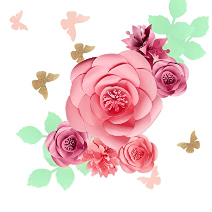 Fonder Mols 3d Paper Flowers Backdrop Rose Pink Set Of 16 Baby Girl Nursery Paper Flower Wall Decor Nursery Decor Wedding Centerpiece