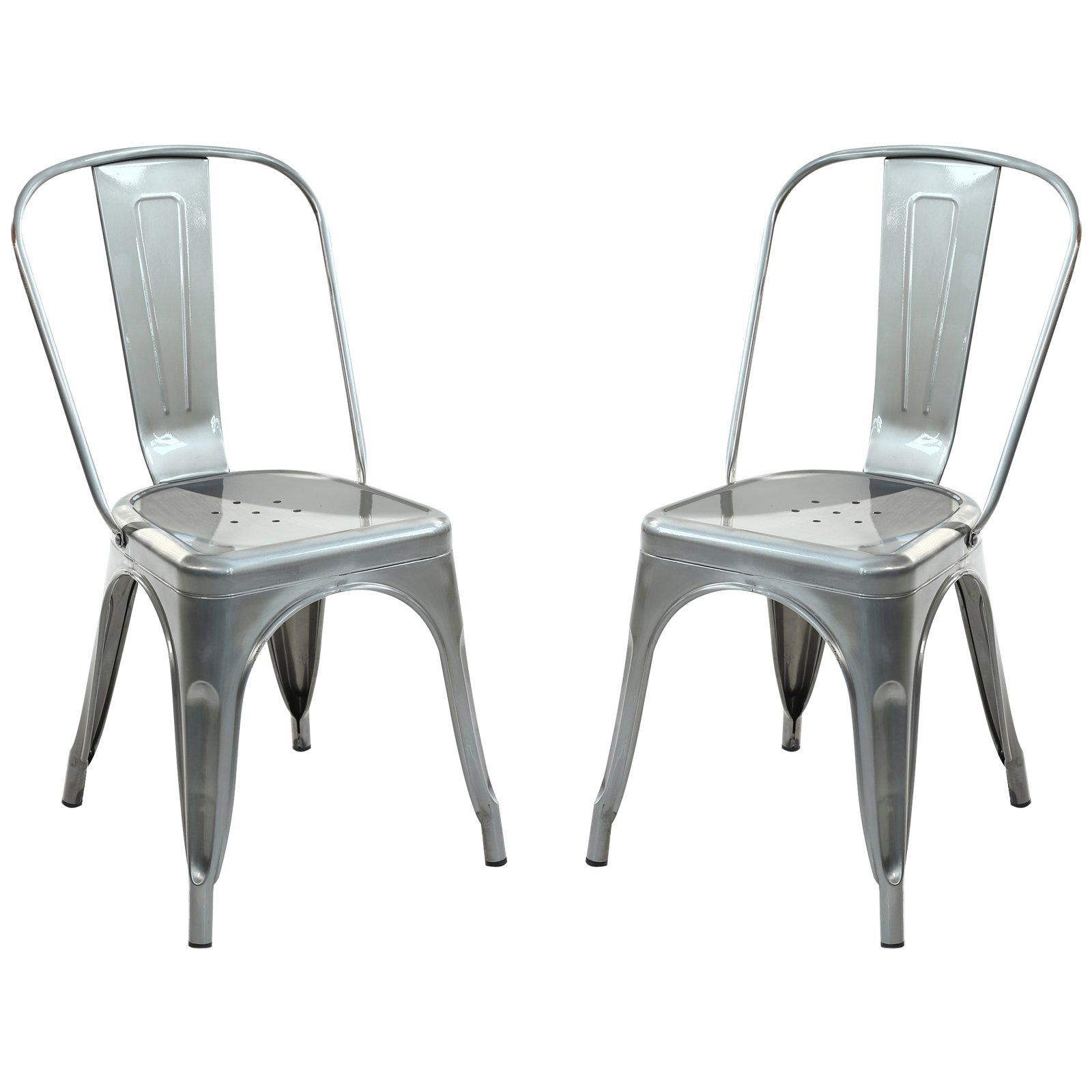 Poly and Bark Trattoria Side Chair in Polished Gunmetal (Set of 2)