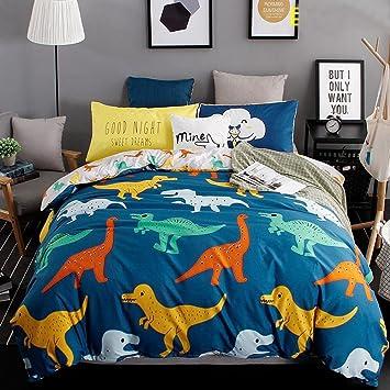 Bettwäsche 4 Tlg 150x200cm Karikatur Dinosaurier Bedding Set