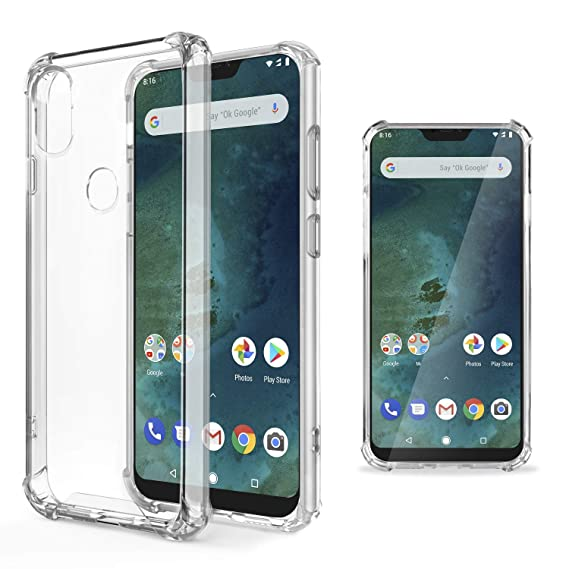 buy online ad0b4 6563d Moozy Shock Proof Silicone Case for Xiaomi Mi A2 Lite/Redmi 6 Pro -  Transparent Crystal Clear phone Case soft TPU Cover