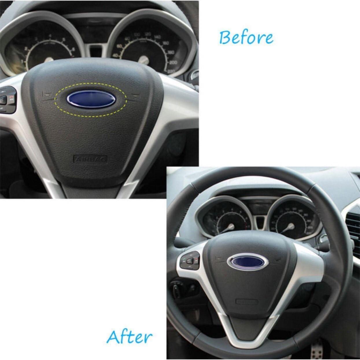 Volant Emblème cadre chrome convient pour FORD Focus Fiesta Kuga