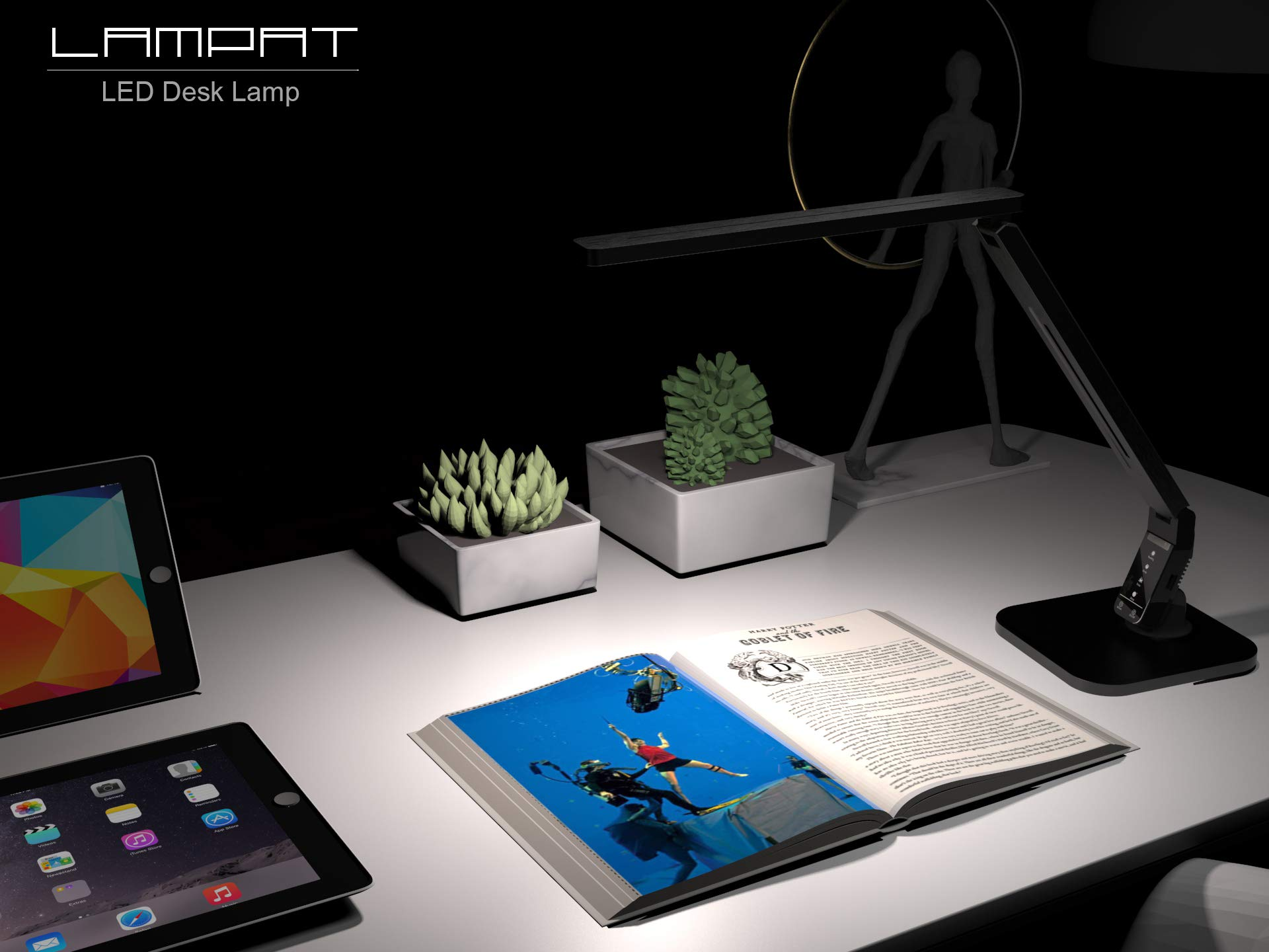 Lampat LED Desk Lamp, Dimmable LED Table Lamp Black, 4 Lighting Modes, 5-Level Dimmer, Touch-Sensitive Control Panel, 1-Hour Auto Timer, 5V/2A USB Charging Port) by LAMPAT (Image #7)