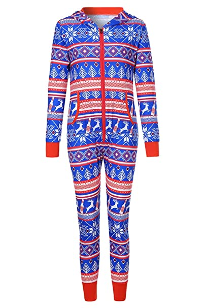 3ff90d8fe6d1 Prettycos Women Christmas Sleepwear Blue Long Sleeve Home Suit Hooded Pajamas  Jumpsuit Ugly Christmas Sleepwear Footed Onesie  Amazon.co.uk  Clothing
