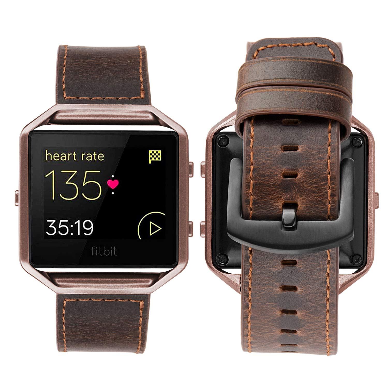 iBazal para Fitbit Blaze Correa Cuero, Fitbit Blaze Banda con Marco de Metal para Fitbit Blaze Smart Watch - Café único/Marco Café