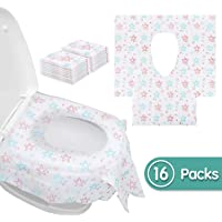 20Packs Disposable Toilet Seat Covers Pocket Size Travel Toilet Seat Covers Perfect for Adults and Kids Potty Training Potty Seat Cover with Individually Wrapped Travel Home Use