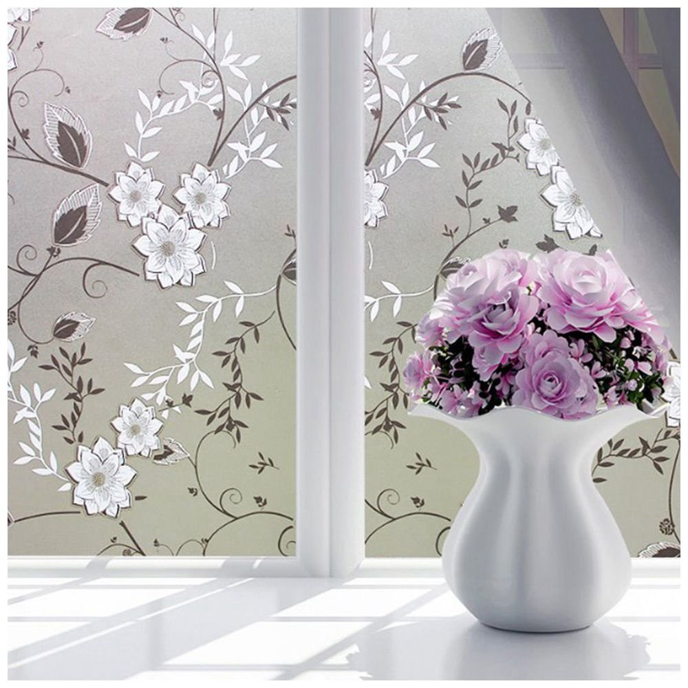 TOOGOO(R) Bedroom Bathroom Home Waterproof Glass Window Privacy Film Sticker PVC Frosted Ink painting flowers