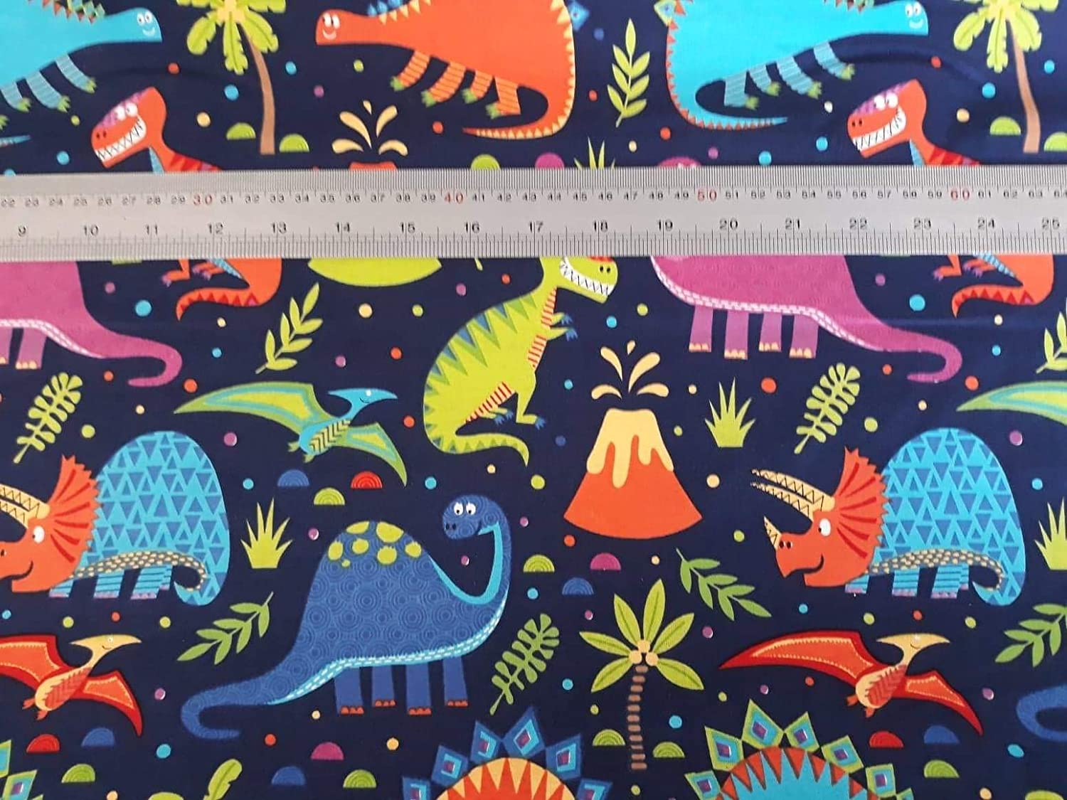 CRAZYLADIES TEXTILES Children Kids Nursery-Bedroom-Curtains-Bedding NURSERY FABRICS 4 Designs in Metres 1 METRE, DINO WORLD