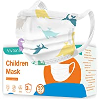 Vivtone Kids Face Mask, 50PCS Children Mask for School and Daily Use, Wide Strap Mask, 3-Ply, Cute Dinosaur Printing