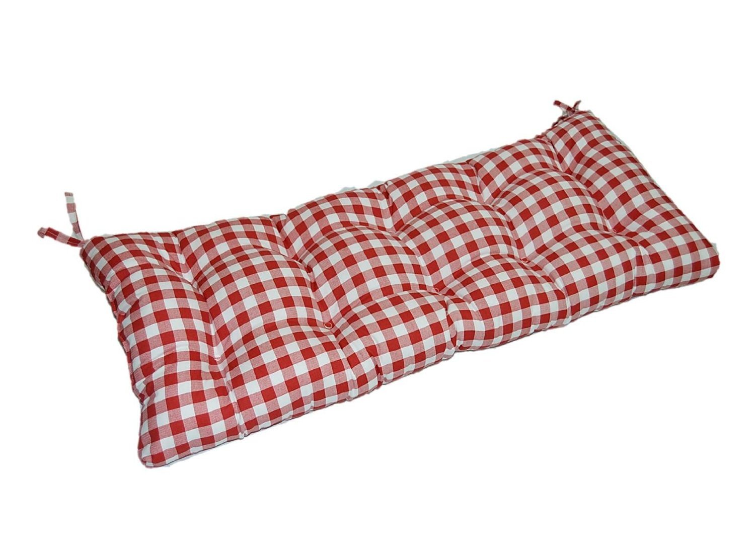 Red and White Plaid / Country Check Checkerboard Indoor Cotton Tufted Cushion with Ties for Bench, Swing, Glider - Choose Size (45'' x 18'')