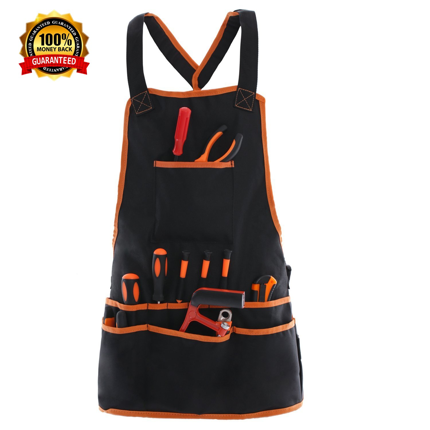 Work Apron tool apron with 16 Tool Pockets tool belt, Adjustable szie(XS-XXL) vest Tool Apron Up ,for mans work apron and women work apron with waterproof apron and Canvas apron by JJYGCGJ
