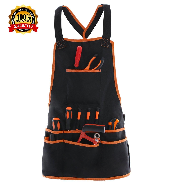 Work Apron tool apron with 16 Tool Pockets tool belt, Adjustable szie(XS-XXL) vest Tool Apron Up ,for mans work apron and women work apron with waterproof apron and Canvas apron by JJYGCGJ