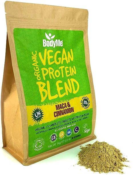 BodyMe Mezcla de Proteina Vegana Organica en Polvo   Cruda Maca Canela   1kg   Sin Edulcorante   Baja Carb   Sin Gluten   3 Proteinas Veganas   20g ...