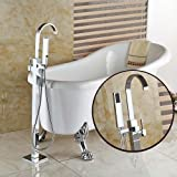 Votamuta Chrome Floor Mounted Clawfoot Bath Tub Filler Faucet Handshower Free Standing Single Handle Shower Mixer Tap