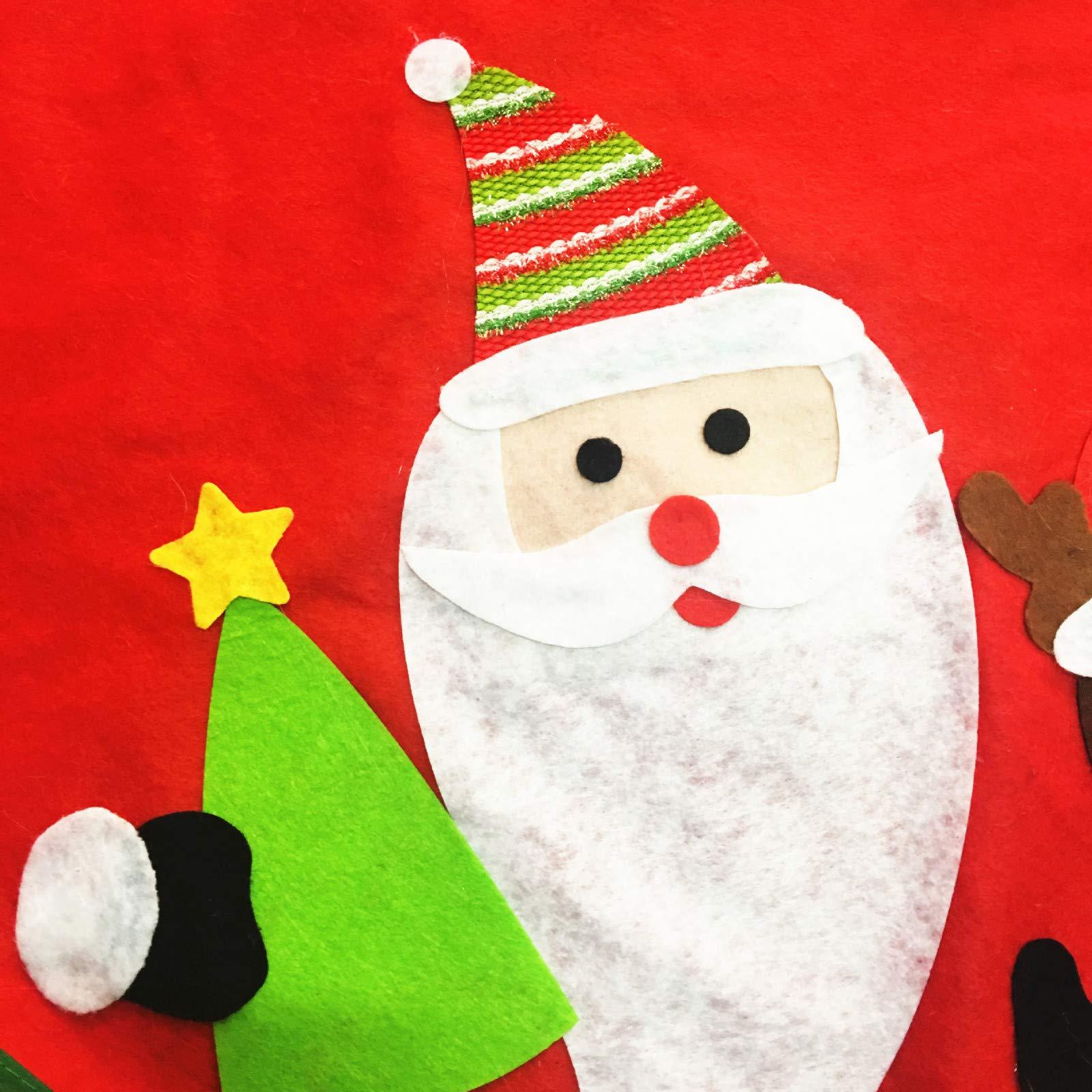 callm Christmas Tree Skirt,90cm Country Christmas Red Whimsical Santa Christmas Tree Skirt (Red)