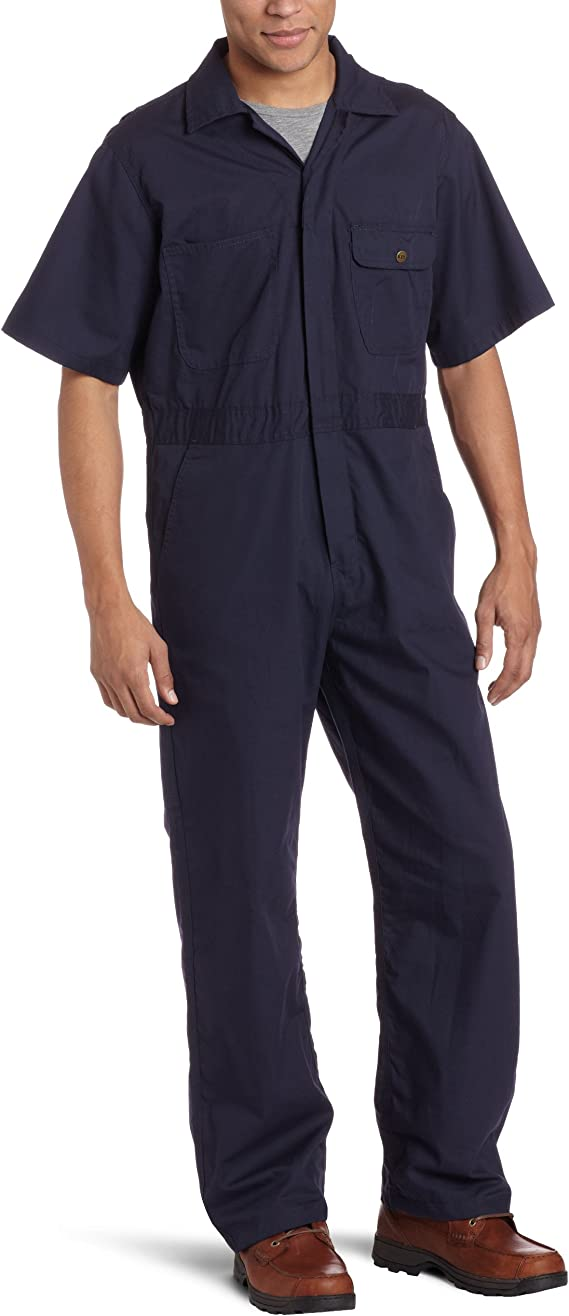 Men's Vintage Workwear Inspired Clothing Key Industries Mens Poplin Short Sleeve Unlined Coverall $34.99 AT vintagedancer.com