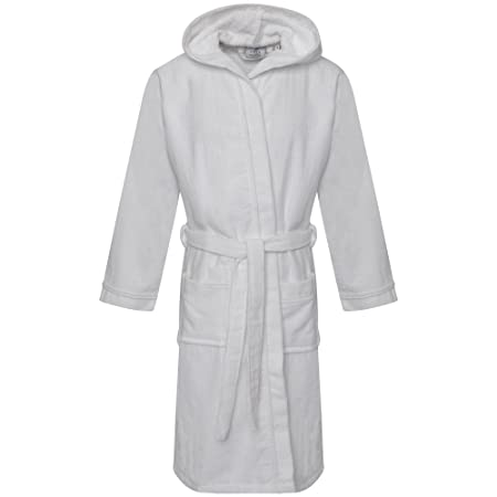 c7d8f64a2d Kids 100% Egyptian Cotton Hooded Velour Terry Towelling Bathrobe Bath Robe  Dressing Gown Age 6-14yrs (6-8