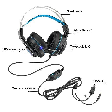 Amazon Com 3 5mm Game Headphone Headset Professional Steel Beam