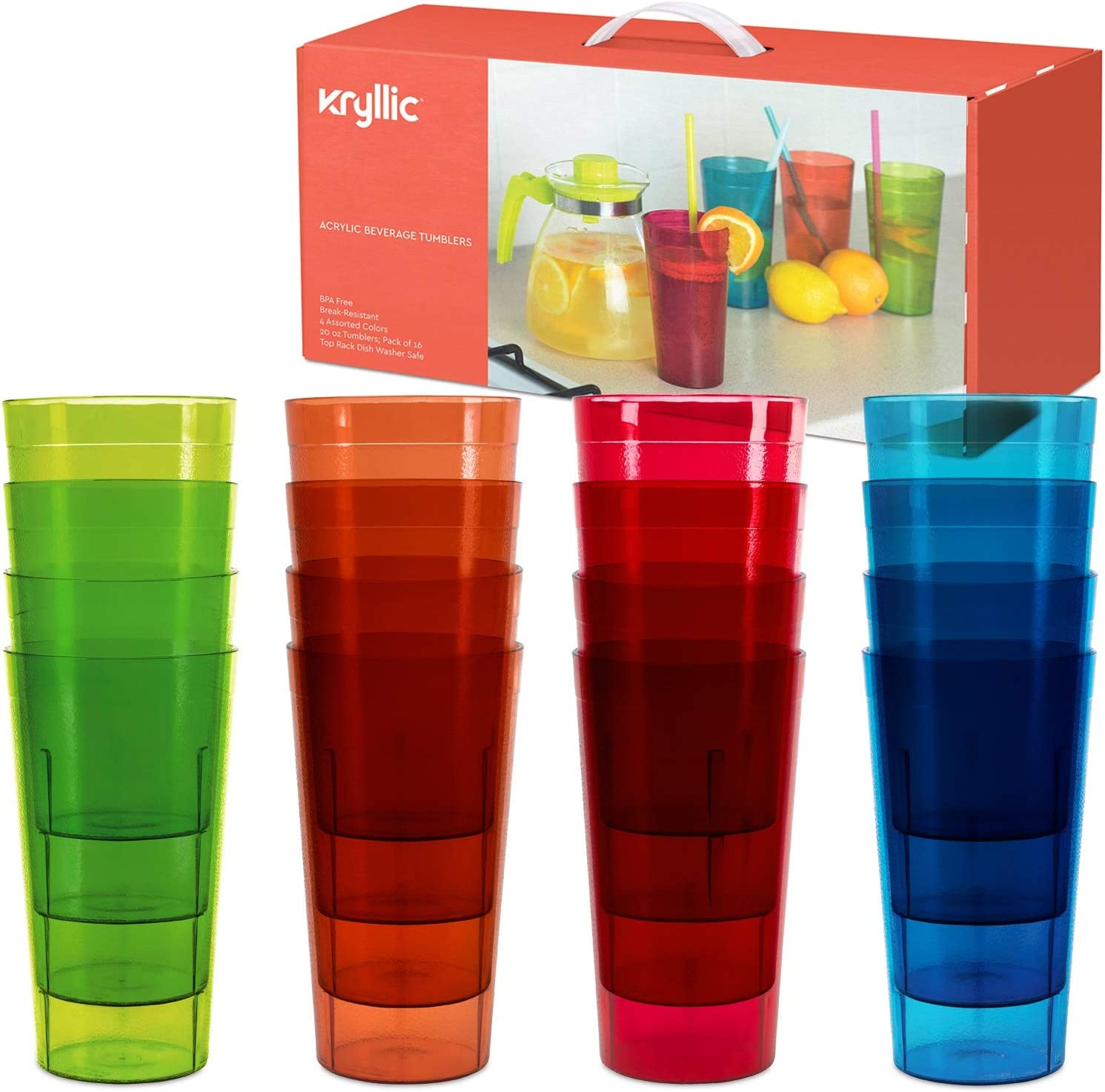 Kryllic Drinking Glasses Plastic Tumblers Drinkware Kids Cups Acrylic Tumbler Set Of 16 Break Resistant 20 Oz In 4 Assorted Colors Restaurant Quality Tumbers Dishwasher Safe And Bpa Free