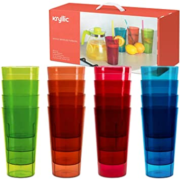 ac66cbe752c Reusable Plastic Cup Drinkware Tumblers - 16 Assorted colors break  resistant 20 oz dishwasher safe drinking