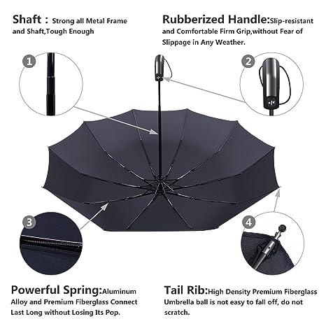 10 Varillas Paraguas Plegable, Paraguas Automático, Paraguas de Viaje, Contra Viento, Secado