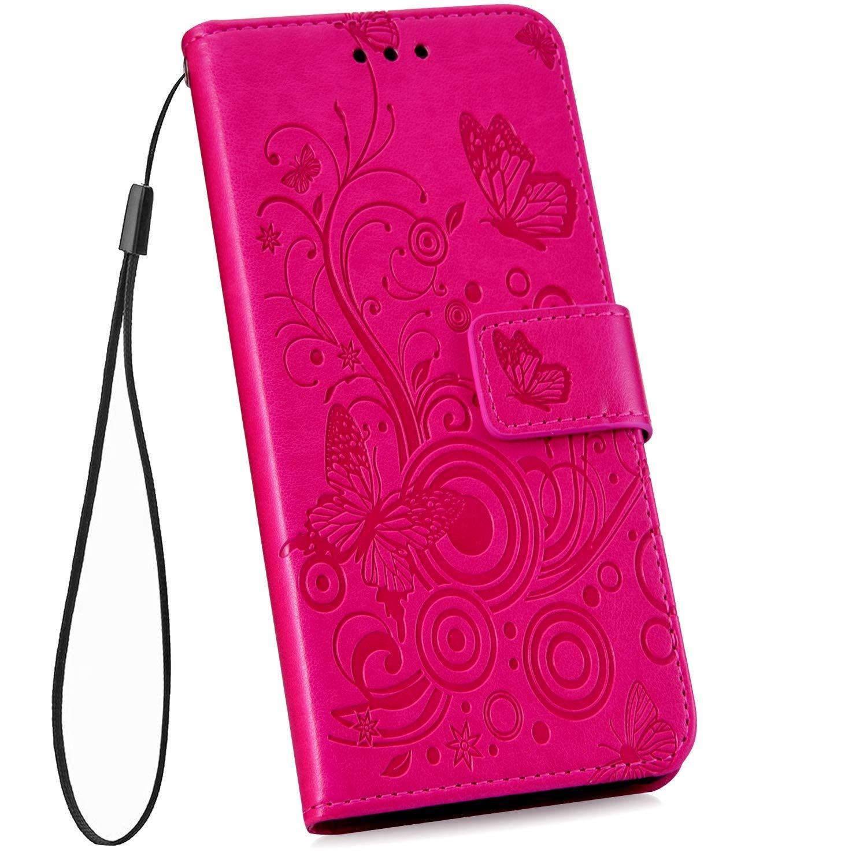 Robinsoni Etui Coque pour Nokia 2.1 2018 3D Papillon Fleur Motif Coque en Cuir PU Premium Housse Portefeuille Livre Coque /à Rabat Magn/étique Fonction Support,Carte Slot Coque Pochette,Violet
