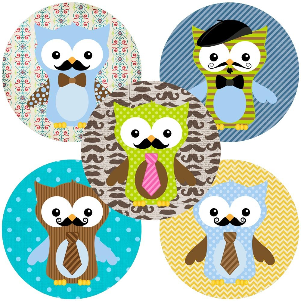 Mustache Owl Party Favor Sticker Labels - Little Man Boy Birthday Baby Shower Party - Set of 50