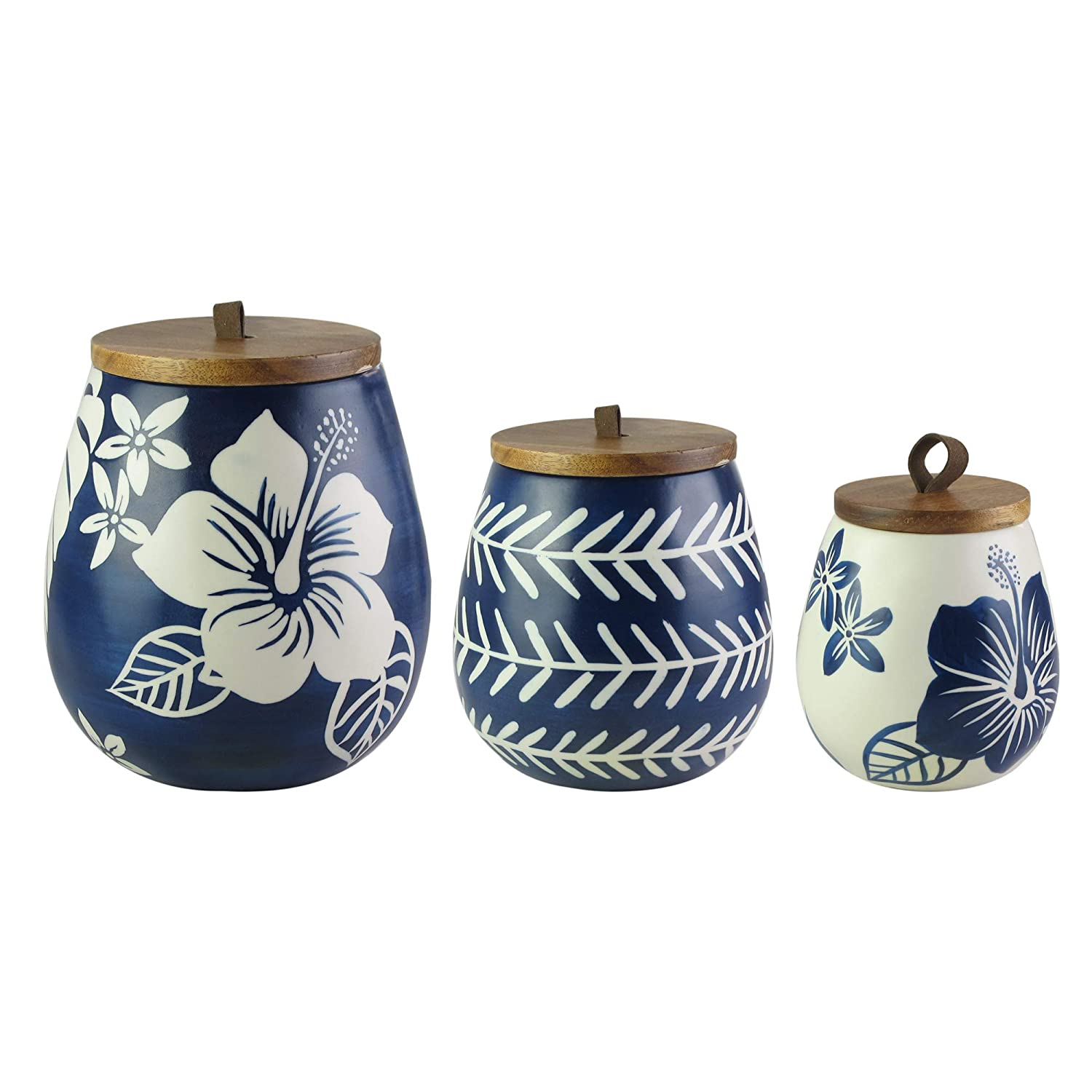 American Atelier Ceramic Canister Set with Wooden Lids Jar Container for Kitchen Food Storage Floral Blue/White 3 pieces Set 7120-CAN-RB