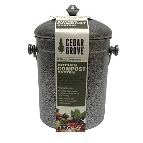 Powder-Coated Iron Steel Kitchen Compost Bin 1.3 Gallon, with Charcoal Filter Lid - Cedar Grove