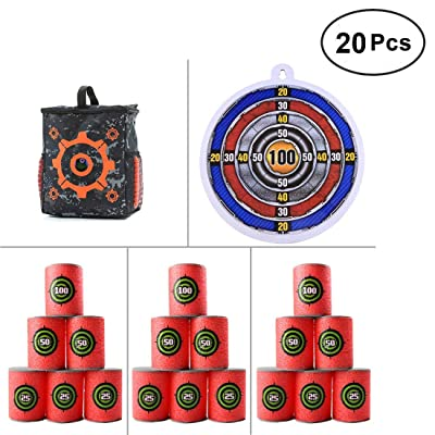 FenglinTech Darts Shoot Target Set, 1 x Target Pouch Storage Carry Equipment Bag + 18 x Bullet Shoot Dart Target + 1 x Shooting Target Suction Board: Toys & Games