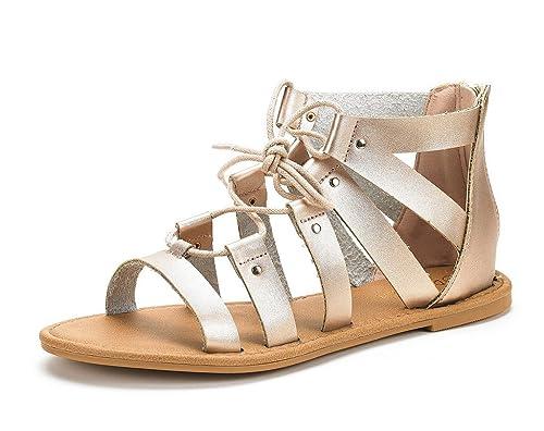 fe9774be1c8 DREAM PAIRS Women s Arizona Champagne Pu Ankle Strap Gladiator Flat Sandals  - 5 ...