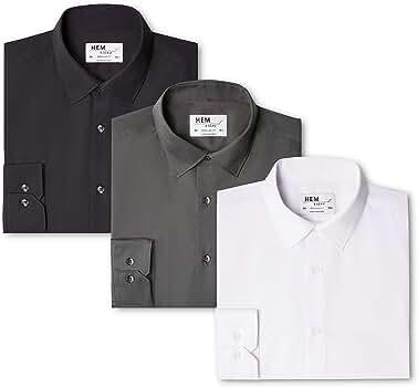 Marca Amazon - Hem & Seam Camisa Lisa Regular Fit Hombre, Pack de 3, Mehrfarbig (Black / Charcoal / White), 41 cm, Label: L: Amazon.es: Ropa y accesorios