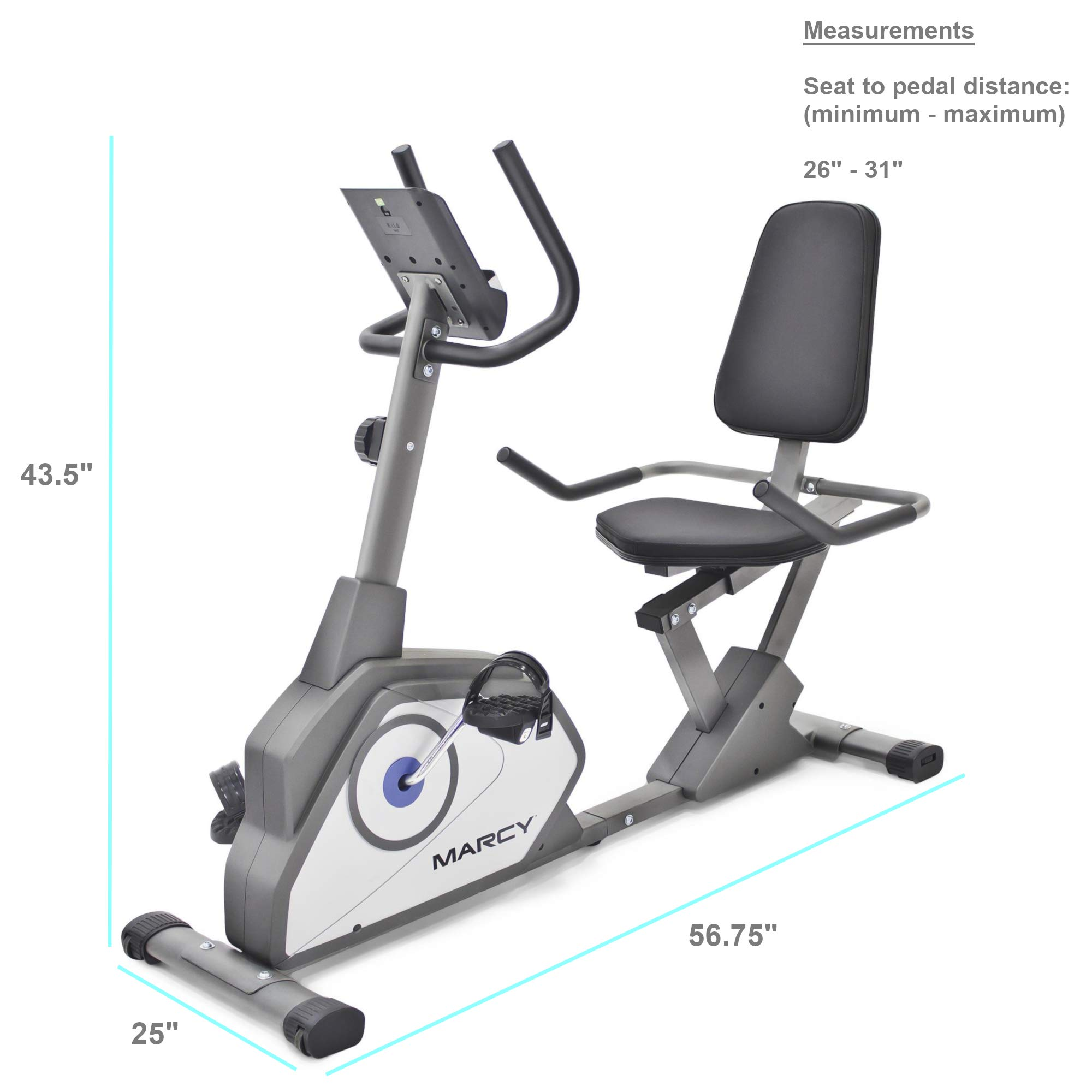 Marcy Magnetic Recumbent Exercise Bike with 8 Resistance Levels NS-40502R by Marcy (Image #2)