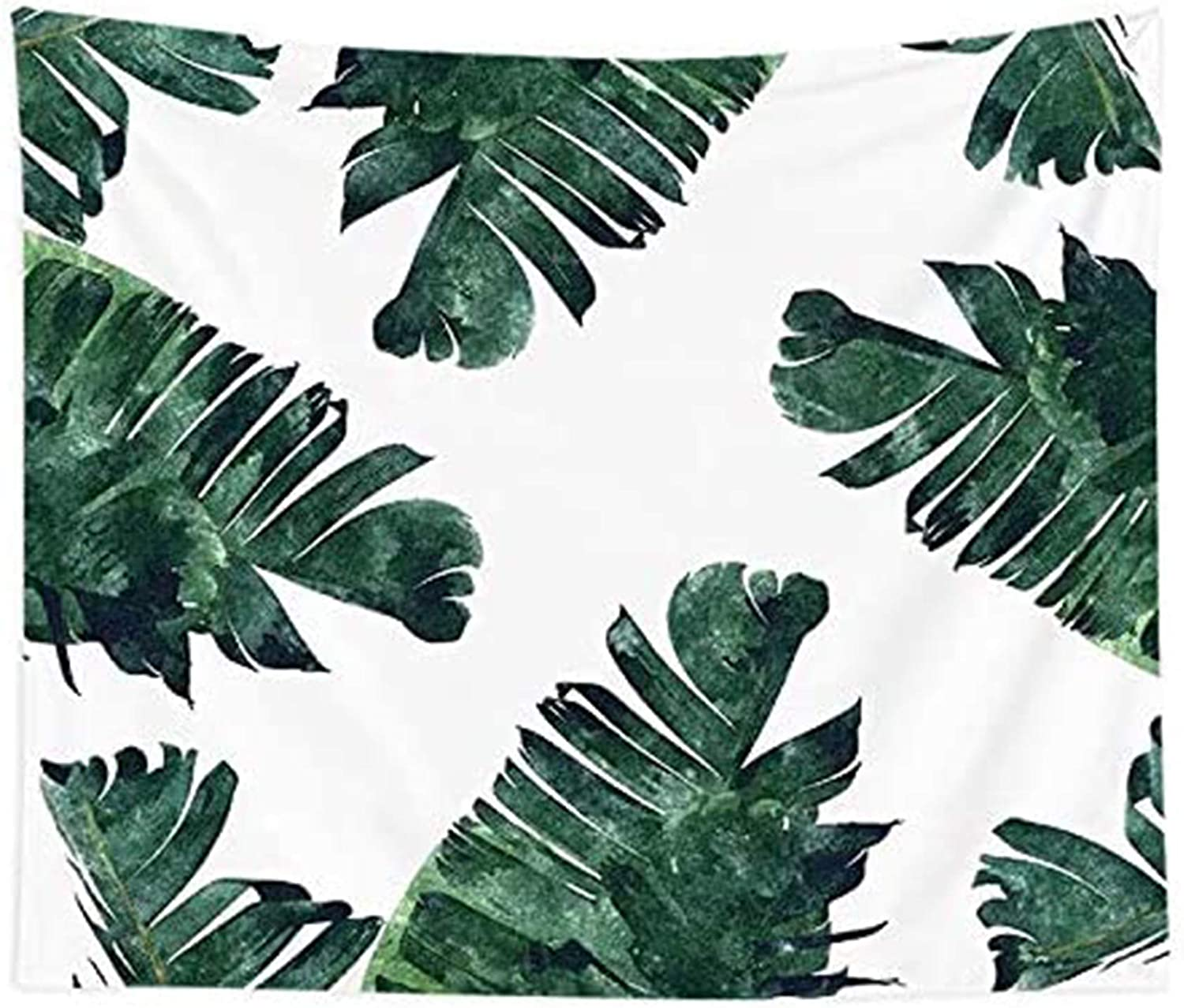HVEST Watercolor Green Leaves Tapestry Tropical Watercolor Monstera Banana Leaves on White Background Tapestry for Bedroom Living Room Dorm Home Party Art Decor Blanket,59Wx51H inches