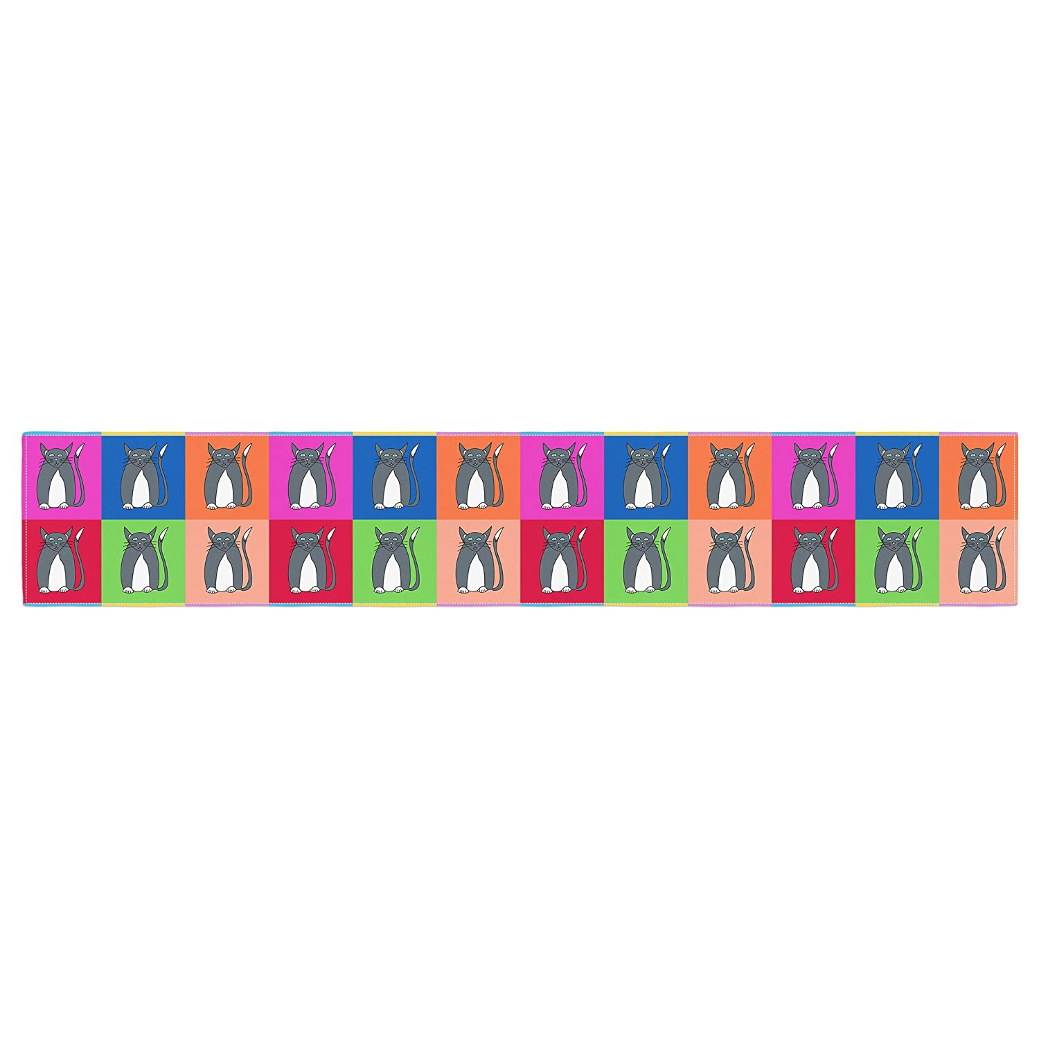Kess InHouse Bruce Stanfield Pussy Cat I Love You Rainbow Table Runner