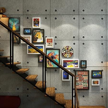 ALUK- 16 Multi Photo Frames Set Industrial Style Living Room Foto Cuadro Pared Cuadro Combinación Escalera Pintura (Color : #Segundo): Amazon.es: Hogar