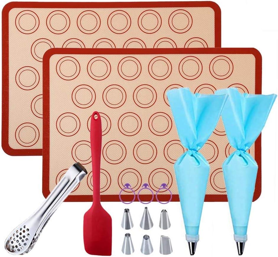 "GARCENT Macaron Kit, 2 Half Sheet 11.6""x16.5"" Non-stick Macaron Silicone Baking Mat Template Mold Set with Silicone Spatula, Food Tongs, Cake Decorating Supplies"