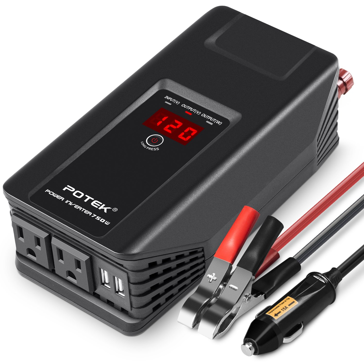POTEK 750W Power Inverter 12V DC to 110V AC Car Adapter with Two USB and AC Charging Ports for Laptop,Tablet, Smartphone,Camera and More by POTEK