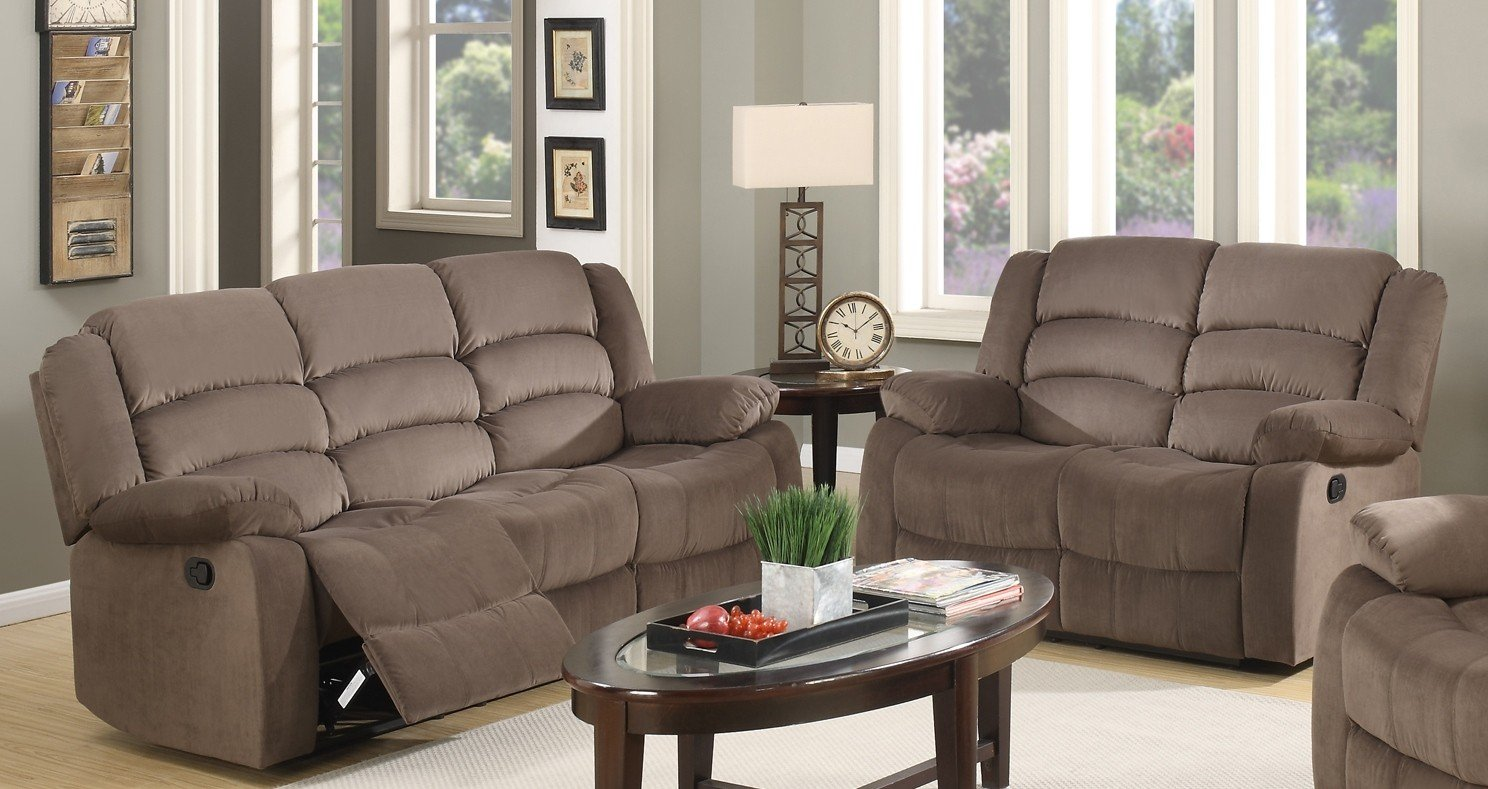 Blackjack Furniture 9824-BROWN-2PC Complete Microfiber Reclining Sofa and Loveseat Set, Brown