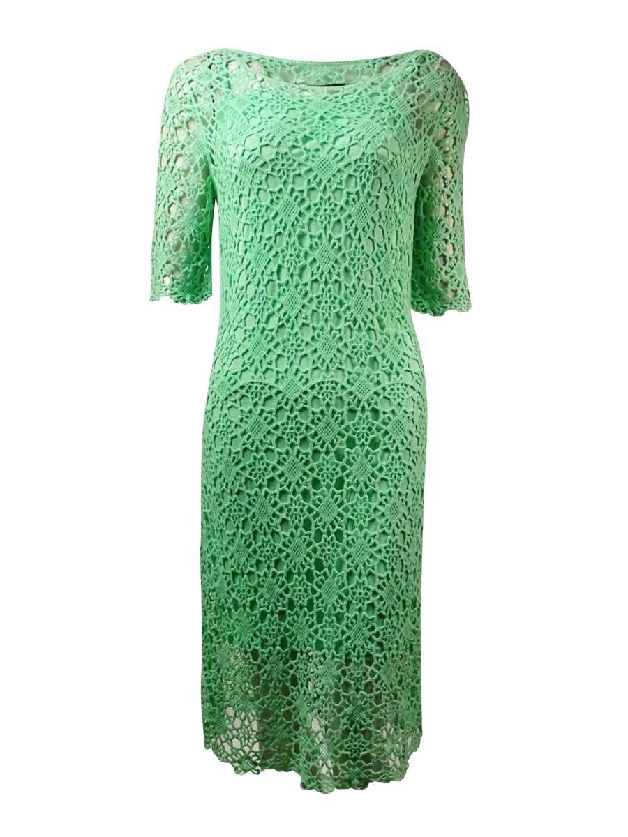 Lauren Ralph Lauren Womens Crochet Elbow Sleeves Casual Dress Green M