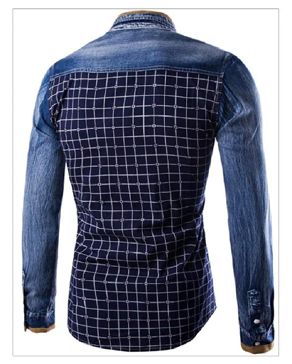 YUNY Men Plaid Long-Sleeve Slim Fitted Button Down Contrast Shirts Navy Blue XL