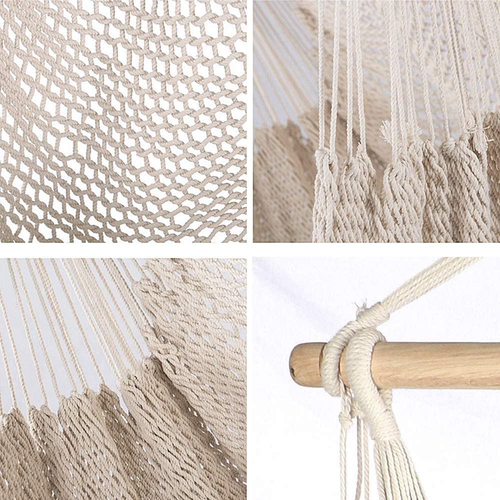 Hardwood Spreader Bar Wide Seat Lace Swing Chair Indoor Outdoor Garden Yard Theme Decoration Chihee Hammock Chair Super Large Hanging Chair Soft-Spun Cotton Rope Weaving Chair