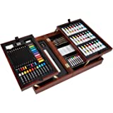 Vigorfun Deluxe Art Set in Wooden Case, with Soft & Oil Pastels, Acrylic & Watercolor Paints, Water Color, Sketching…