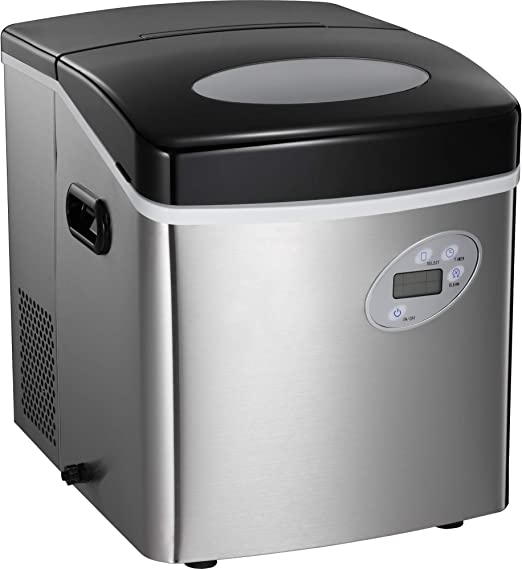 9 Ice Cubes ready in 8 Minutes,Makes 26 lbs of Ice per 24 hours,with See-through Lid and LED lights Portable Automatic Ice Maker Machine with Self-clean Function for Countertop black