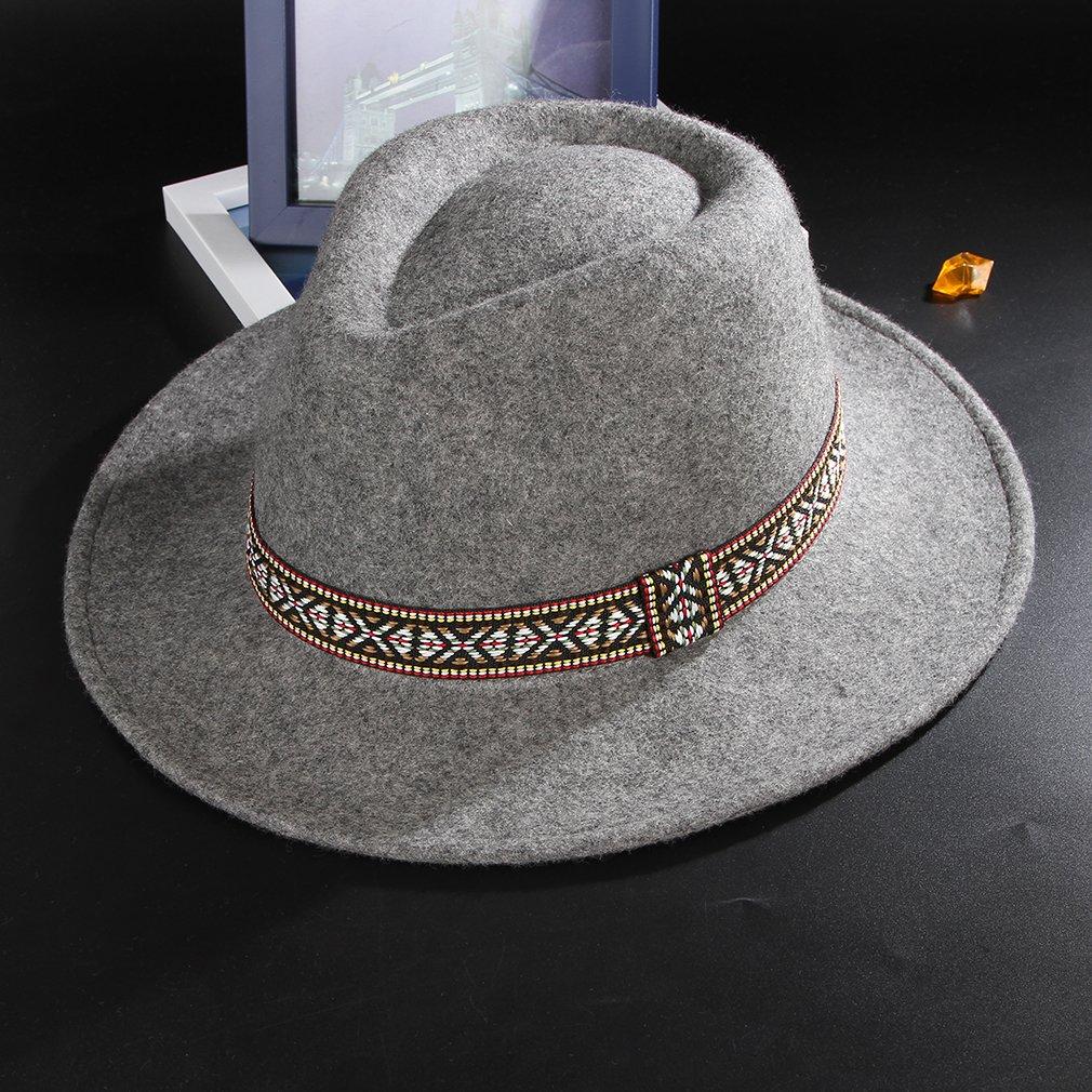 fd2f9b7c5d107 Gemvie Women s Wool Felt Trible Print Band Warm Fedora Trilby Porkpie Hat  Gray at Amazon Women s Clothing store