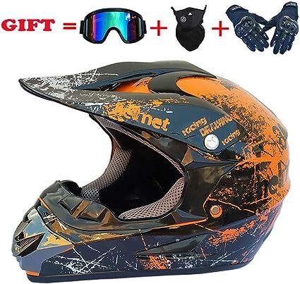 52~53 AMITD Casco De Motocross para Adultos Casco De Motocicleta MX Scooter ATV Casco Certificaci/ón Dot Rockstar Gafas Guantes M/áscara Black S